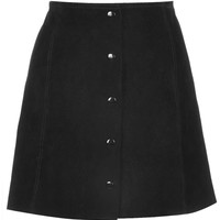 Black Suede Button Front Mini Skirt