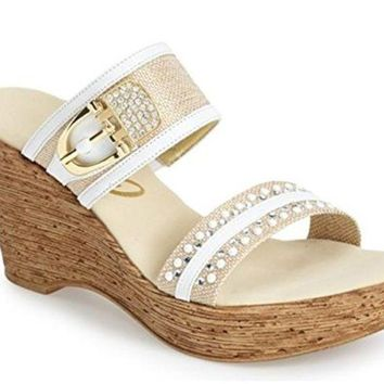 DCCKAB3 Onex Bettina White Leather Wedge Sandals