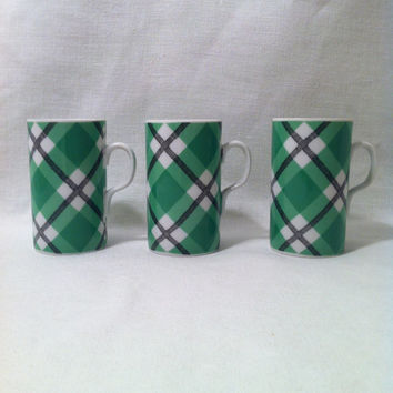 Green Plaid Espresso Cups , Fitz Floyd Cups , St Patricks Serving , Coffee Cups