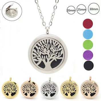 With chain as gift! Life tree magnetic 316L stainless steel aromatherapy lockets 20mm 25mm 30mm perfume diffuser locket necklace