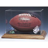 Tampa Bay Buccaneers NFL Football Display Case (Wood Base)