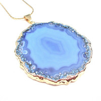 Ocean blue gold plated agate slice necklace - agate jewelry - agate geode necklace by Sparkle City Jewelry