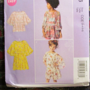 SALE UnCut McCall's Sewing Pattern, 306! 3-4-5-6 Toddlers/Girls/Kids, Hippie Flare Casual Shirts/Blouses/Tops/Pullover/Flare Sleeves/Summer/