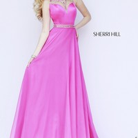 Sherri Hill 32144 Bejeweled High Neck Cut Back Sweep Train