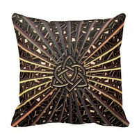 Bronze Metallic Throw Pillow Celtic Heart Knot