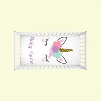 Unicorn Crib Sheets customizable with baby's name
