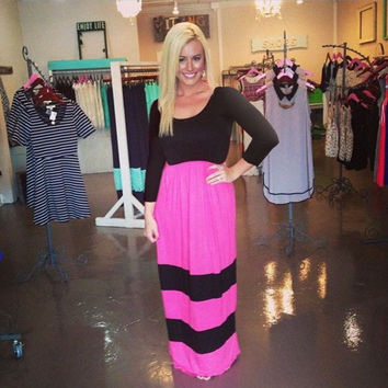 Black and Pink Striped Half Sleeve High Waist Maxi Dress