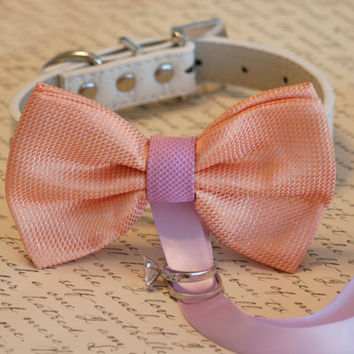 Peach and Lavender wedding accessory, Dog ring bearer, Peach Dog Bow Tie, Pet Wedding accessory, Pet lovers, Peach and Lavender
