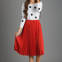 Kaylee Rust Pleated Midi Skirt