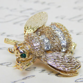 Bumble Bee Brooch Gold Bee Pin Clear White Rhinestones Striped Body Green Rhinestone Eyes