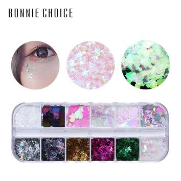 BONNIE CHOICE Eye Sequins Glitter Mixed Flake Chunky Nail Face Eye Sequins Set Party Decorations Body Tools Makeup Kits