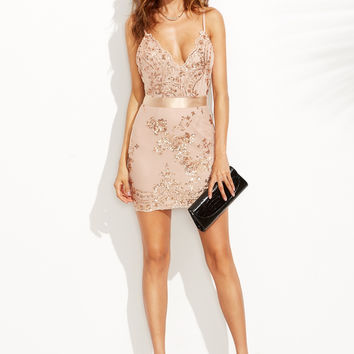 Gold Spaghetti Strap Open Back Sequins Dress
