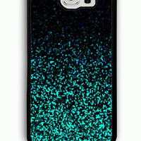 Samsung Galaxy S6 Case - Rubber (TPU) Cover with Mint Glitter Rubber case Design