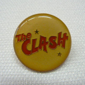 Vintage Early 80s The Clash Logo Enamel Pin / Button / Badge