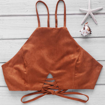 Coffee Lace-Up Crop Top