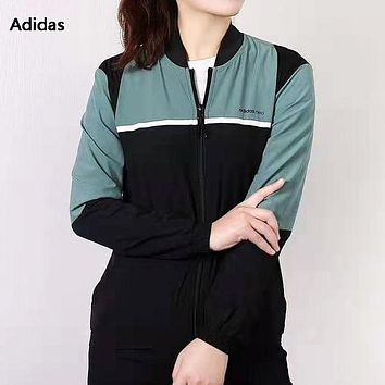 Adidas NEO New fashion letter print contrast color long sleeve top windbreaker Black