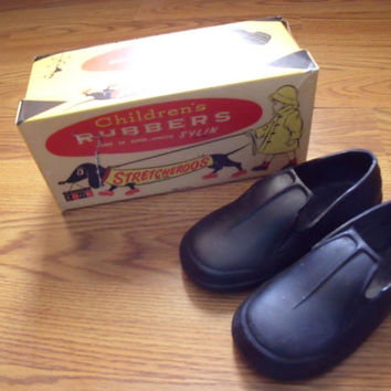Vintage 1960s Stretcheroos Rubber Shoes For Children With Original Box Size 6 and a half B By Seevus Rubber Company