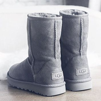 UGG Short boots antiskid warm lazy sheep fur simple ugg boots canister boots (5-color) Grey