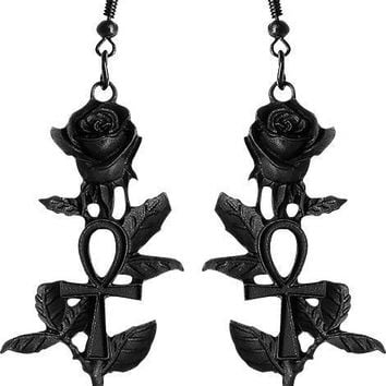Ankh [Black] Rose | EARRINGS