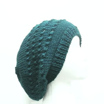 Slouchy beanie hat | Knitted hat | Teal knit hat | Handmade hat