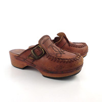 Leather Wooden Clogs Vintage 1970s Wood Platform Whiskey Brown Qualicraft Women's size 6