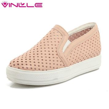 round toe slip on flat heel women shoes summer cut outs breathable casual loafers wome  number 1