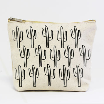 Black Cactus Canvas Pouch