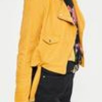 Missguided - Faux Suede Belted Biker Jacket Mustard