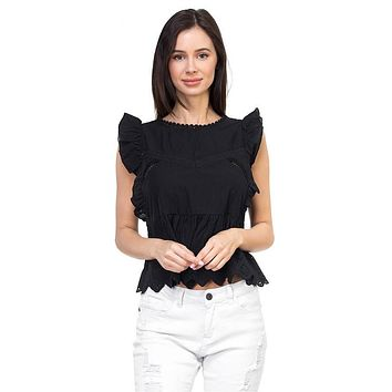 Sleeveless ruffle trim eyelet top (a)