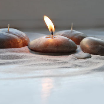 Handmade Candles Pebbles Candles Hand Sculptured From Wax Candles Beach Stone Candles - Set Off Four - Valentine's Day Gift Idea