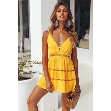 good quality Summer Dress Women's 2019 Sexy Stitching Lace Hollow Decoration V-neck Halter Strap Dress Women Summer Yellow Mini Dress