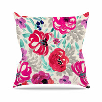 "Crystal Walen ""Mona Brush Stroke"" - Floral Painting Outdoor Throw Pillow"
