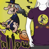 Halloween, witch on a broom, bats and pumpkins by cardvibes