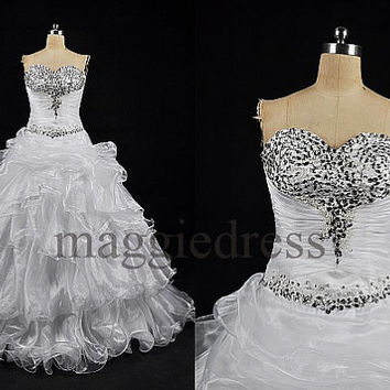 Custom White Beaded Organza Tiered Long Wedding Dresses Fashion Bridal Gowns Evening Gowns Party Dresses Wedding Party Dress Formal Wear