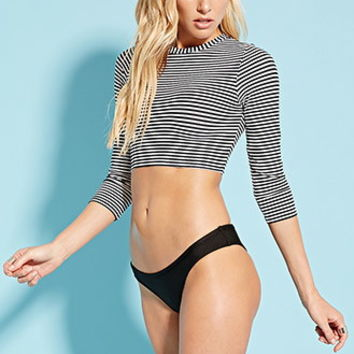 Stripe Cropped Rash Guard