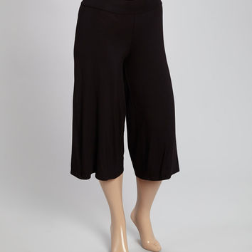 Black Crop Gaucho Pants - Plus