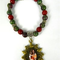 Religious Virgin Mary Glass Tile Pendant Red and Green Beaded Stretch Bracelet