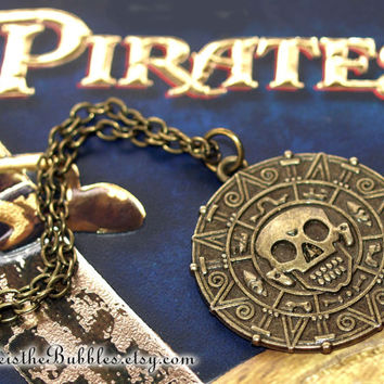 Pirates of the Caribbean, Aztec Medallion Necklace, Pirate Gold Coin, Cursed Treasure, Disney Inspired, by Life is the Bubbles