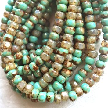 50 4 x 3mm, Tricut, Tri-cut, 3 cut Round Czech glass beads, rustic, earthy, turquoise green & champagne mix picasso 6/0 seed beads C6\36101