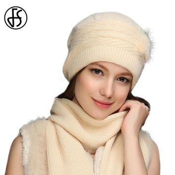 FS 2017 Fashion Winter Wool Skullies Beanies Knit Crochet Cap For Women Warm Scarf And Hat Knitted Hat Pompon Beanie