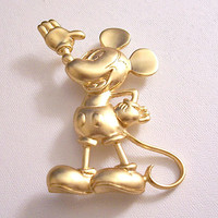 Mickey Mouse Disney Pin Brooch Gold Tone Vintage Napier Standing Large Waving Hand Long Tail Big Ears Puffed Shoes Brushed Line Back