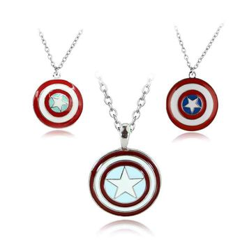 Hot The Avengers Captain America Alloy Pendent Necklace Marvel Superhero High Quality Gift For Fans Movie Jewelry Free Shipping