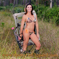 cute orange camouflage hunting bikini camo bikini with heart antler and big buck head
