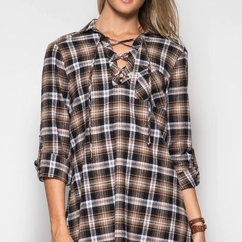 Mad For Plaid Dress- Brown