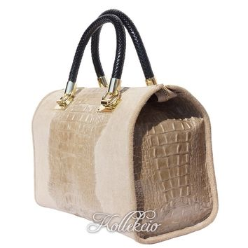 Italian Taupe Genuine Leather Handbag with Crochodile Skin Deco