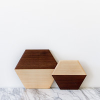 walnut & maple serving board | hexagon