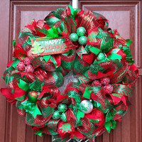 Deco Mesh Christmas Wreath // Red Green Xmas // Christmas tree wreath // holiday decor