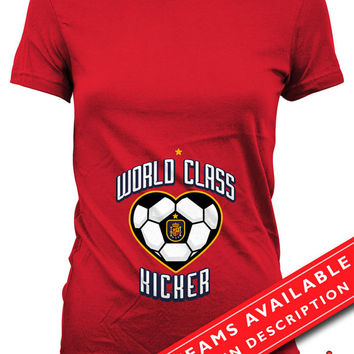 Soccer Pregnancy Announcement T Shirt Gifts For Expecting Moms Soccer Shirts For Mom Pregnancy Reveal Spanish Soccer Fan Ladies Tee MD650