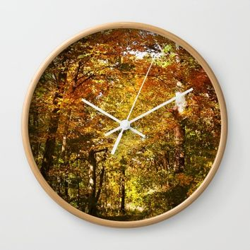 Woods Lake Trail Wall Clock by Theresa Campbell D'August Art