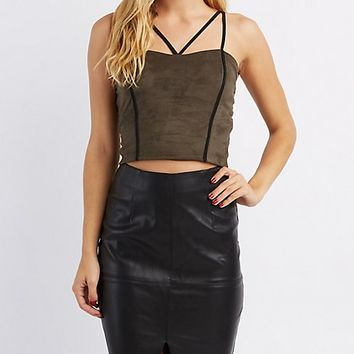 Faux Suede Strappy Crop Top